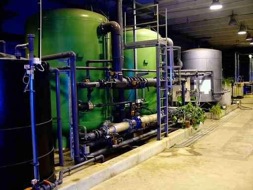water treatment tanks on power plant